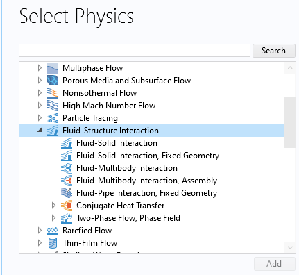 لیست فیزیکهای محیط تعامل سیال و سازه