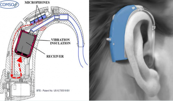 تصویری از یک دستگاه شبیهسازی شده با کامسول برای کمک به ناشنوایان